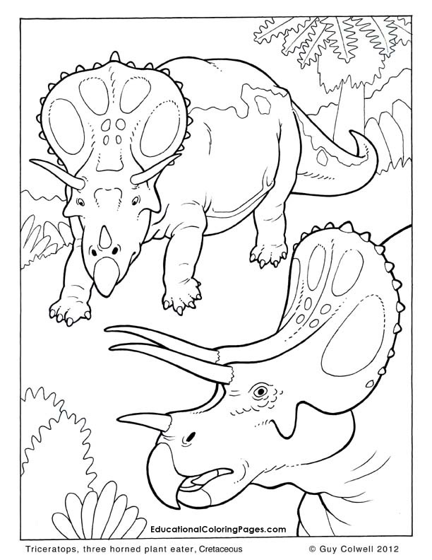 Triceratops coloring pages, dinosaur colouring pages