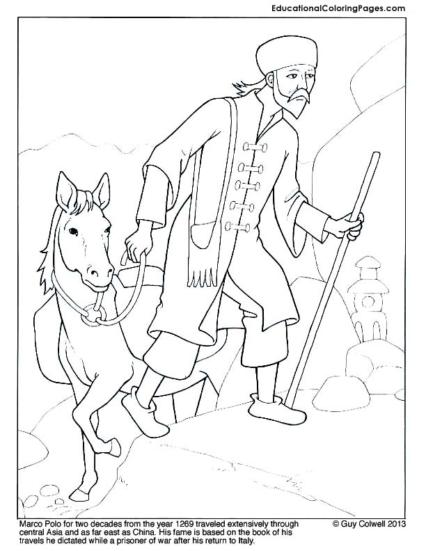Famous Explorers Coloring BooK Marco Polo