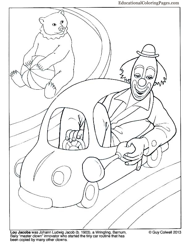 Clowns Coloring Books Two Animal Coloring Pages for Kids